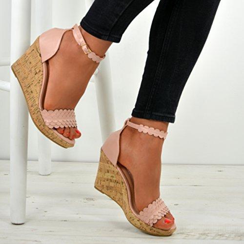 Cucu Fashion New Womens Ladies High Wedge Heel Platforms Ankle Strap Sandals Shoes Sizes UK Pink xzVA5v