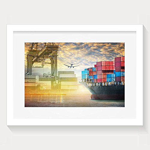 Yishuo Container Cargo Ship And Cargo Plane With Port Crane Bridge In Harbor At Sunset Sky Freight Framed Living Room Decor White Wall Art Artwork Print