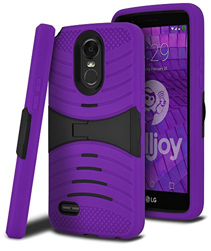 LG Stylo 3 Case, LG Stylo 3 Plus Case, LG Stylus 3 Case, CellJoy [Extreme Kickstand Armor] Dual Layer Hybrid {Heavy Duty} ((Shock-proof)) Rugged Premium Protective Hard Case Cover (Purple / Black)
