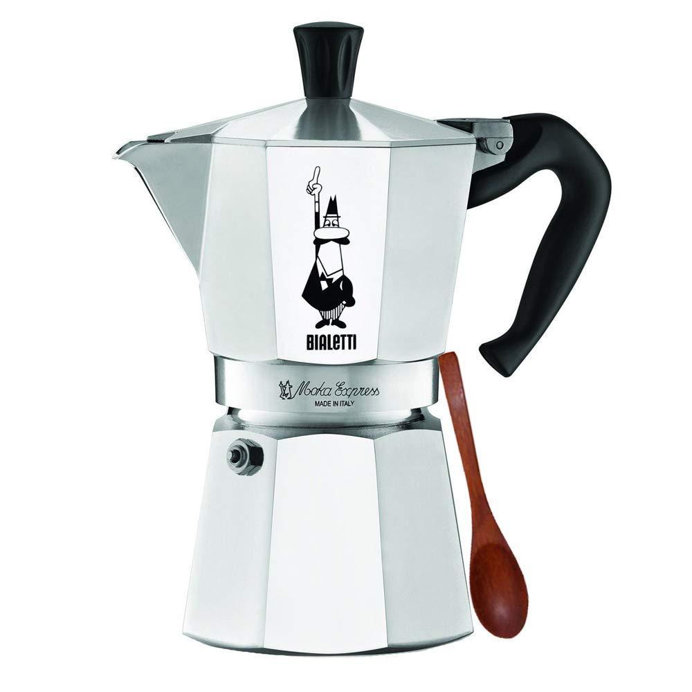 Original Bialetti 6-Espresso Cup Moka Express   Espresso Maker Machine and Zonoz Wooden Small Espresso Stirring Spoon Bundle (6-cup, 10 fl oz, 300 ml)