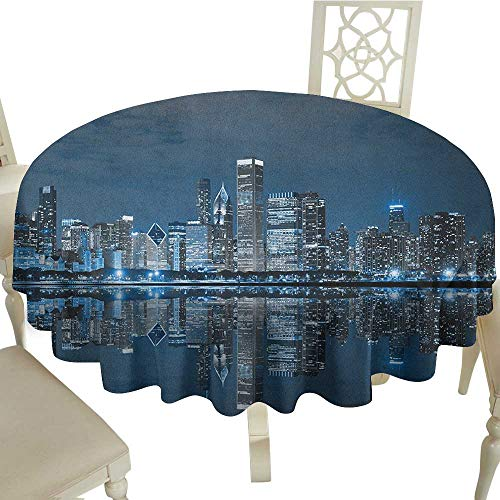 gingham round tablecloth 54 Inch Chicago Skyline,Sleeping City Dramatic Urban Resting Popular American Lake Picture Night Blue Grey Suitable for Party,outdoors,Farmhouse,coffee shop,restaurant -