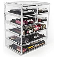 Sorbus Cosmetics Makeup and Jewelry Big Storage Case Display - Stylish Vanity, Bathroom Case (3 Large, 4 Small Drawers, Clear)