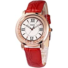 Time100 Womens Bracelet Watch Fashion Retro Diamonds Alloy Plating Band Watches (Red)