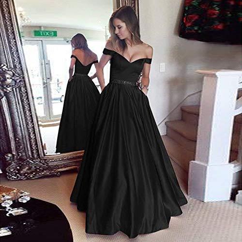 Elecenty In Con Vestito gilet Senza Abito Elegante Donna Sexy Imbracatura Solido Pizzo Lungo Donna Maniche cSRq34jL5A