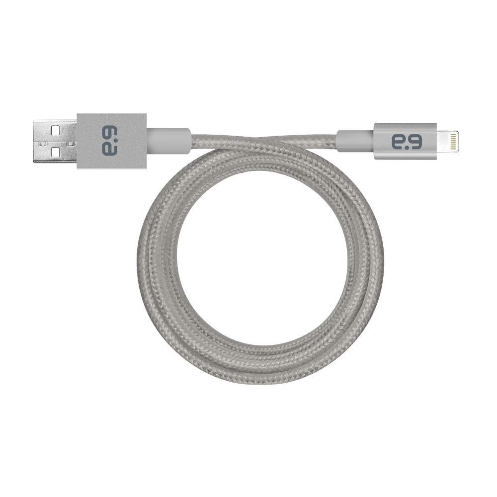 PureGear Braided Metallic Charge-Sync Cable for Apple Lightning devices - Space Gray 9''