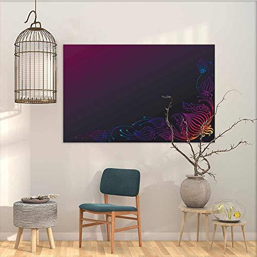 Wall Painting Prints Sticker Indigo Rainbow Colored Image with Dark Black Purple Ombre Backdrop Flower Like Swirls Art Office Art Decoration Multicolor W35 xL31