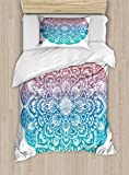 Ambesonne Yoga Twin Size Duvet Cover Set, Boho Gypsy Mandala in Pastel Colors Mystic Floral Meditation Symbol, Decorative 2 Piece Bedding Set with 1 Pillow Sham, Dried Rose Blue and Turquoise