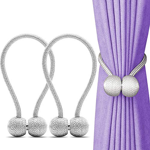 SAYGOGO 2 Piece Curtain Tiebacks Magnetic, Creative Hand Knitting Drape Tiebacks, Decorative Rope Holdbacks for Window Sheer, White