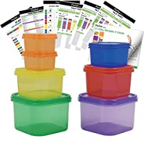 Prefer Green 7 Piece Portion Control Containers Kit (with COMPLETE GUIDE & 21 DAY DAILY TRACKER & 21 DAY MEAL PLANNER & RECIPES PDFs) ,Multi-Color Coded System