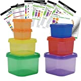 Prefer Green 7 PCS Portion Control Containers Kit (with COMPLETE GUIDE & 21 DAY DAILY TRACKER & 21 DAY MEAL PLANNER & RECIPES PDFs) ,Label-Coded,Multi-Color-Coded System,Perfect Size for Lose Weight