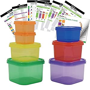 Prefer Green 7 PCS Portion Control Containers Kit (with COMPLETE GUIDE & 21 DAY DAILY TRACKER & 21 DAY MEAL PLANNER & RECIPES PDFs),Label-Coded,Multi-Color-Coded System,Perfect Size for Lose Weight 51VHLM3A9zL