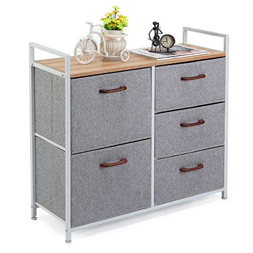 MaidMAX Storage Cube Dresser Home Dresser Storage Tower Constructed by Painted Steel, Wooden Top and 5 Foldable Cloth Storage Cubes, Gray (Painted Drawer 3 Chest)