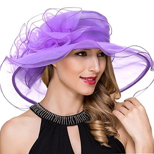 Fashion Accessories Purple (Women Derby Church Dress Fascinator Wide Brim Ruffles Tea Party Wedding Organza Hats S042b (S019-Purple))