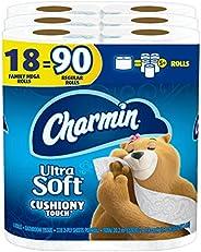 Charmin Ultra Soft Cushiony Touch Toilet Paper, 18 Family Mega Rolls = 90 Regular Rolls