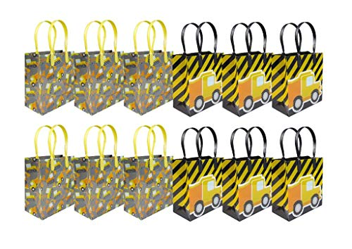 TINYMILLS Construction Trucks Party Favor Bags Treat Bags, 12 Pack