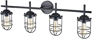 YIKOLUZ Black Vanity Light, Farmhouse Bathroom Rustic Cage Light Fixtures Wall Sconce for Dressing Table Mirror Cabinets, Outside Lights for House (4 Bulb Vanity Light)