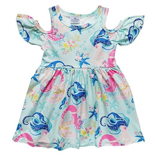 So Sydney Toddler Girls Cold Shoulder Flutter Short Sleeve Stretch Cotton Dress (XS (2T), Mermaid Magic)