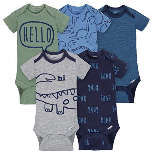 Gerber Baby-Boys 5 Pack Variety Onesies, Dino Roar, 3-6 Months -