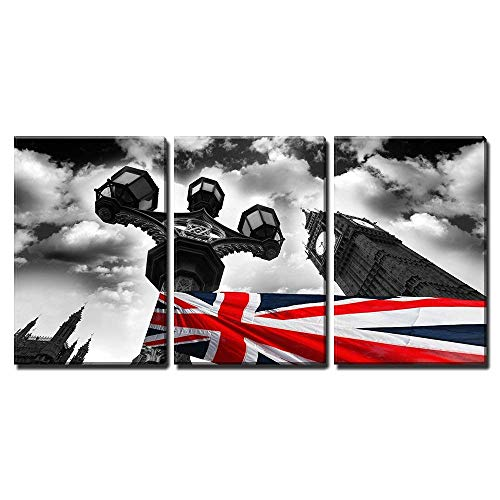 wall26 - 3 Piece Canvas Wall Art - Big Ben with Flag of England, London, UK - Modern Home Decor Stretched and Framed Ready to Hang - 16