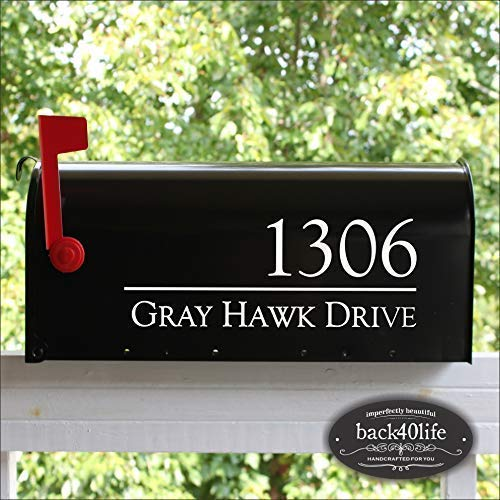 Back40Life - Mailbox Numbers Street Address Vinyl Decal (E-004q) (Mailbox Lettering)