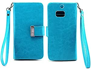 myLife Deep Sky Blue {Smooth Color Design} Faux Leather (Card, Cash and ID Holder + Magnetic Closing) Slim Wallet for the All-New HTC One M8 Android Smartphone - AKA, 2nd Gen HTC One (External Textured Synthetic Leather with Magnetic Clip + Internal Secure Snap In Hard Rubberized Bumper Holder)