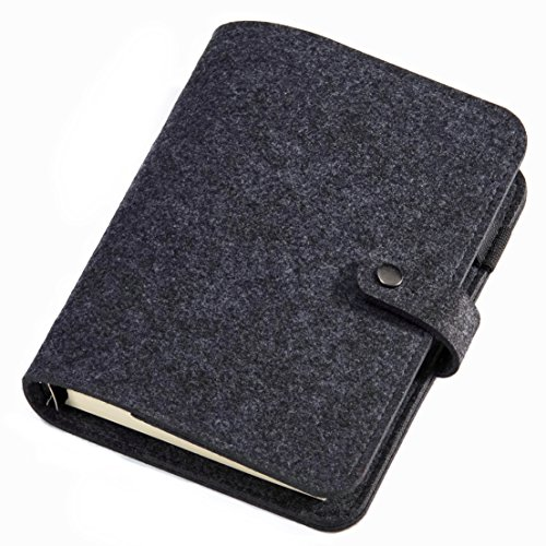 Wool Felt Writing Journal, A5 Lined Charcoal, Spiral Bound 6 Ring Pocket Traveler Notebook Diary with Refillable Pages, 80 Sheets (160 Pages) 100gsm Premium Paper