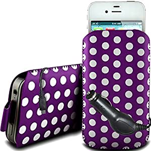 N4U Online - Nokia Asha 503 PU protector Polka de cuero con cremallera diseño antideslizante de cordón en la bolsa del caso con cierre rápido y CE Cargador de coche - Purple