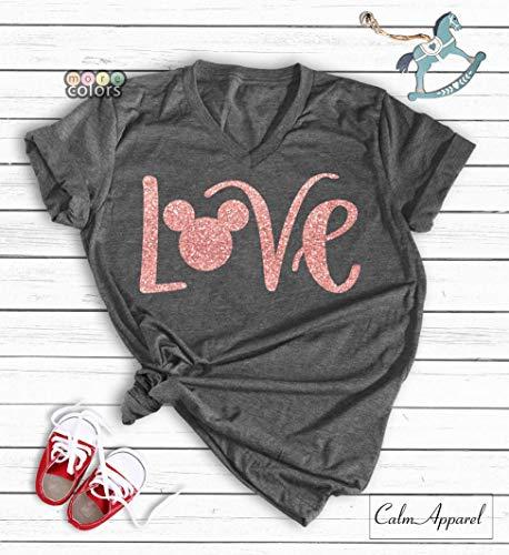 Disney Love Shirts Minnie Shirt Glitter Rose Gold Womens Unisex T