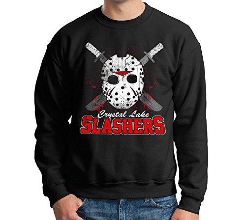 [Crystal Lake Slashers Pullover Crewneck Sweater] (Jason Vorhees Masks)