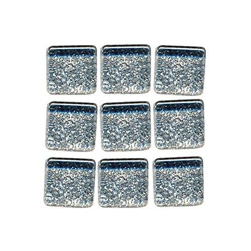 Silver MosaixPro Glass Tiles Glitter 10 x 10 x 4 mm 200 g ~ 215 pcs