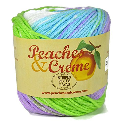 Peaches & Creme (Cream) Cotton Yarn Sweet Pea Stripes 2 oz.