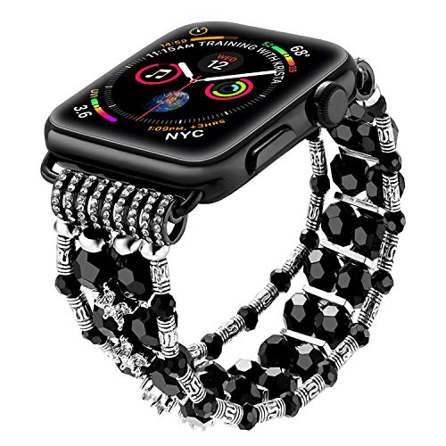 - SBT Watch Band for Apple Watch, Bracelet Compatible with Apple Watch, Women's Classy Crystal Beaded Stretch Elastic (Black 38-40MM)