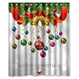 Bathroom Sets with Shower Curtain Custom Xmas Merry Christmas Happy New Year Waterproof Polyester Fabric 60(w) x 72(h) Shower Curtain and Hooks