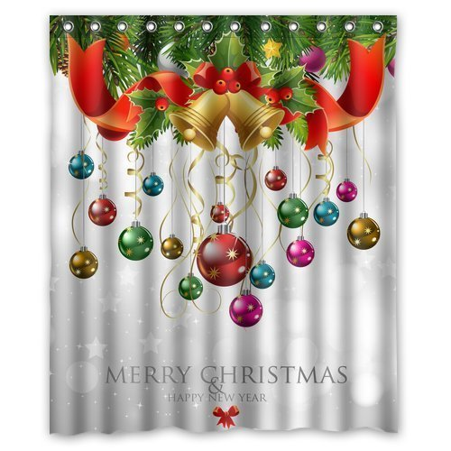 Custom Xmas Merry Christmas Happy New Year Waterproof Polyester Fabric 60(w) x 72(h) Shower Curtain and Hooks