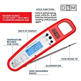 D&M Digital Meat Thermometer - Instant Read & Foldable - Ideal as Internal Meat Thermometer, Grill Thermometer, Cooking or Kitchen Thermometer - Food-safe Sturdy Steel Meat Thermometer Probe, Red