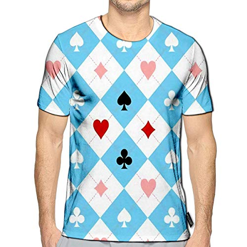YILINGER 3D Printed T-Shirts Card Suit Chess Board Blue Black White Short Sleeve Tops Tees f