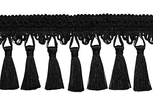 5 Yard Value Pack of 3.5 Inch Tassel Fringe Trim, Style# STF Color: Black - K9, Sold By the Yard (4.5M / 15 - Tassel Black Fabric