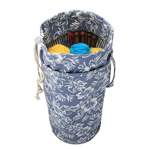 Luxja Yarn Storage Bag, Portable Knitting Bag for Yarn Skeins, Crochet Hooks, Knitting Needles (up to 14 Inches) and Other Small Accessories (Large/Flowers)