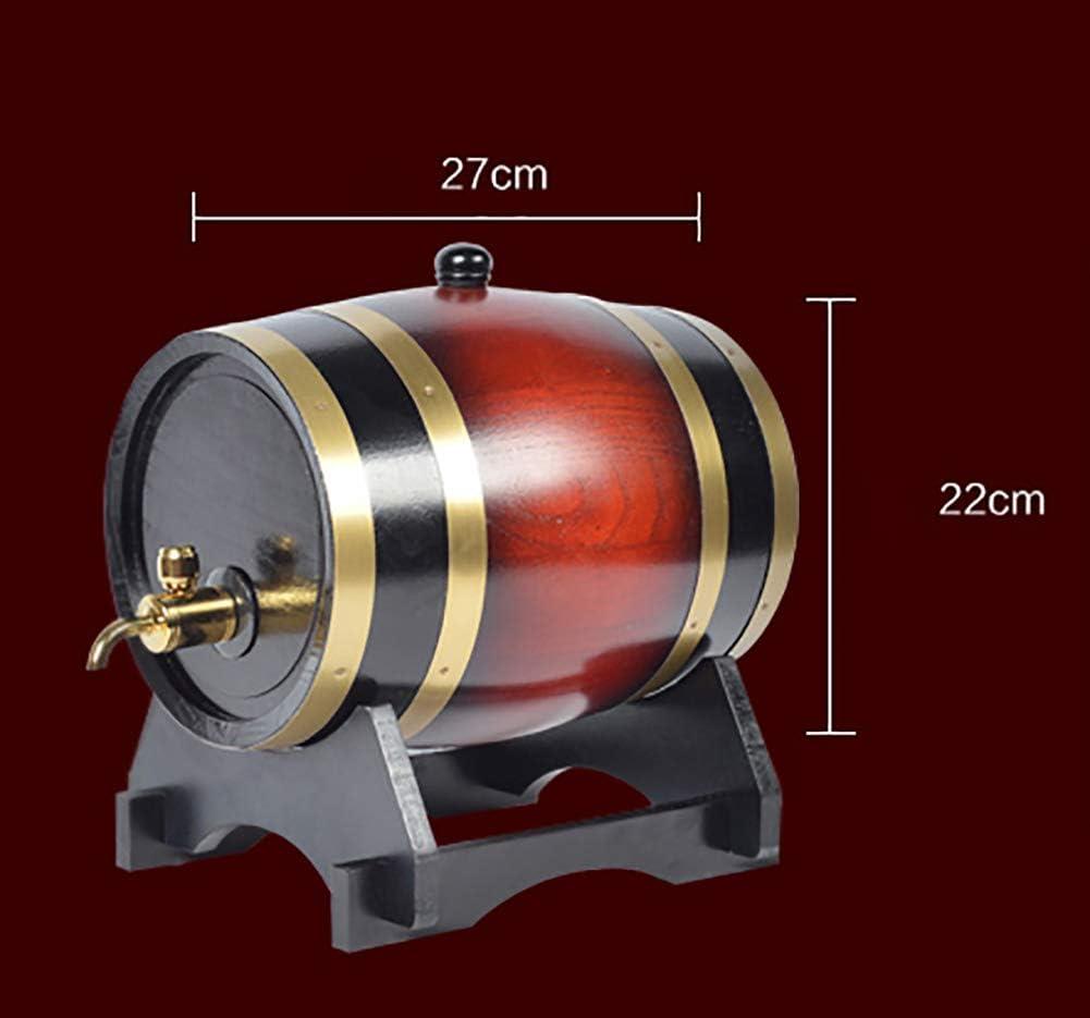 YFASD in Legno Botte di Vino 5 Litri Quercia Botti Rovere Dispenser Stile Vintage Archiviazione con Rubinetto Ottone