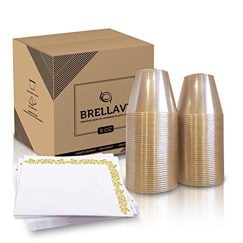 9 Oz Glitter Gold Plastic Cups with Napkins