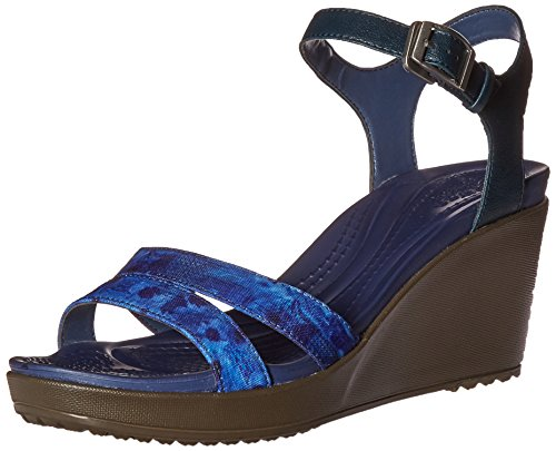 crocs Women's Leighii Anklestrap Graphic Wedge Sandal, Nautical Navy/Walnut, 7 M US - Croc Buckle