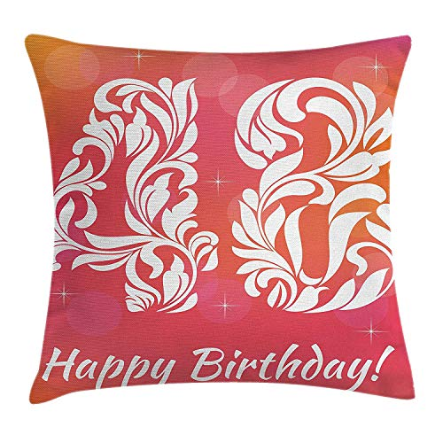 YXZILH 48th Birthday Decorations Throw Pillow Cushion Cover, Retro Victorian Style Typography with Swirl Numbers Design, Decorative Square Accent Pillow Case, 18 X 18 inches, Red Scarlet White -
