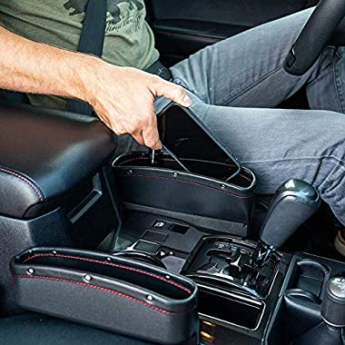 Lukzer 1 PC Leather PU Car Console Side Storage Organizer Seat Gap Filler Pockets Catch Caddy (Black) 6