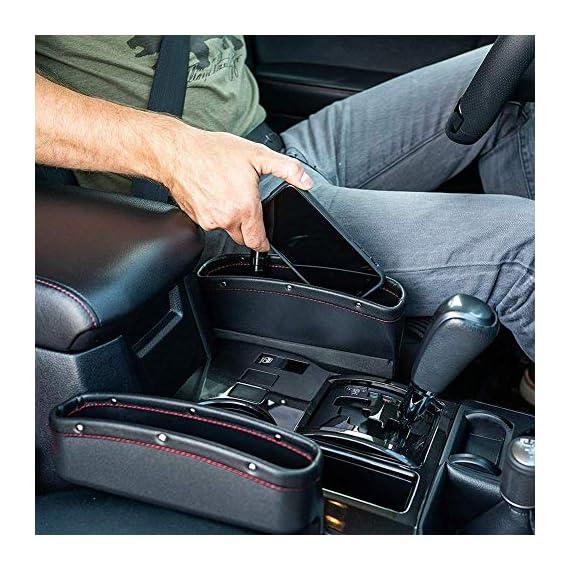 Lukzer 1 PC Leather PU Car Console Side Storage Organizer Seat Gap Filler Pockets Catch Caddy (Black) 1