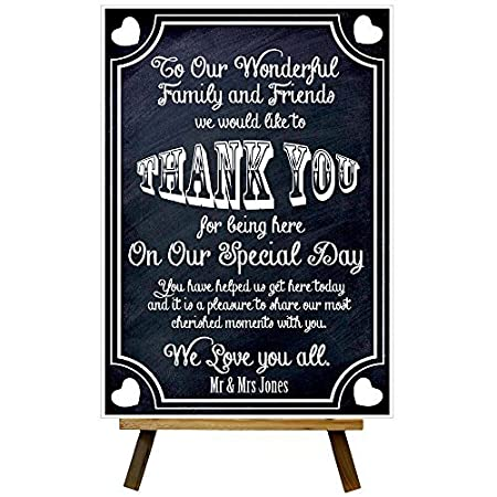 Custom Chalkboard Style Thank You For Being Here Welcome Wedding