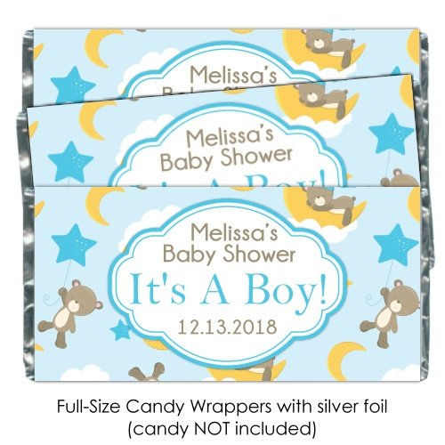 Baby Shower Candy Wrappers, It's A Boy Cute Brown Bears, Stars and Moon (25 (Announcement Candy Wrappers)