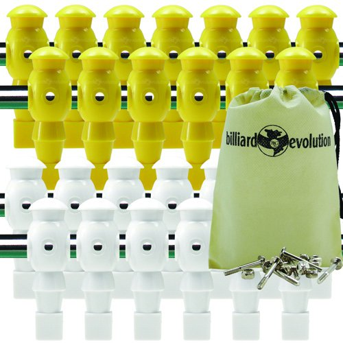 Billiard Evolution 26 Yellow and White Robotic Foosball Men with Free Screws and Nuts Drawstring Bag by Billiard Evolution