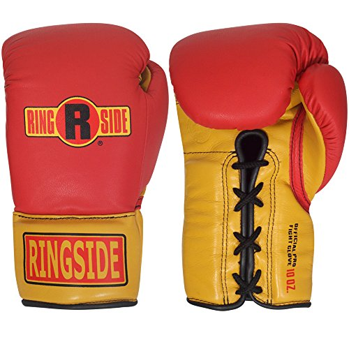 Ringside Ultimate Pro Fight Gloves, Red/Gold, (Hard Piped System)
