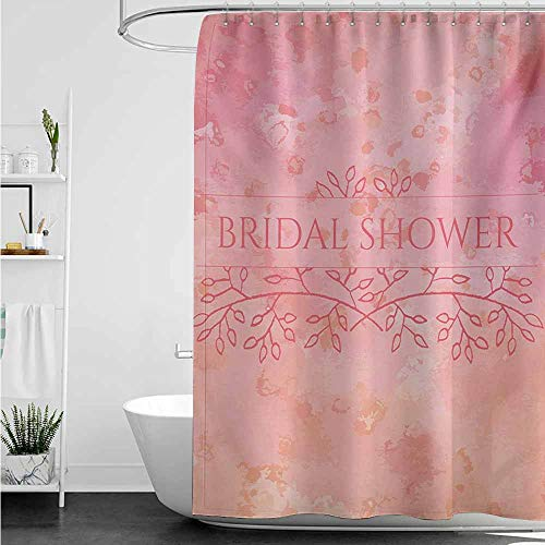 Travel Shower Curtain,Bridal Shower Bride Invitation Grunge Abstract