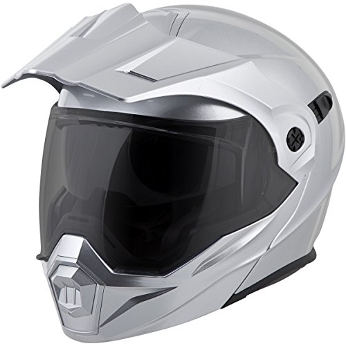 ScorpionEXO Unisex-Adult Modular/Flip Up Adventure Touring Motorcycle Helmet (Hyper Silver, XX-Large) (EXO-AT950 Solid)